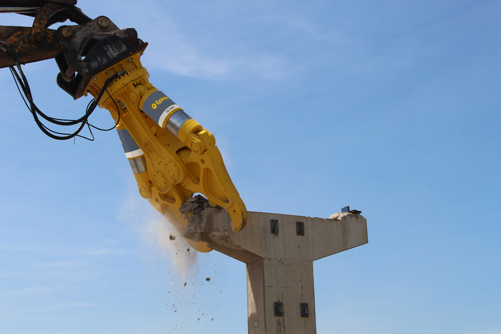 Epiroc's new hydraulic attachments help with high reach demolition
