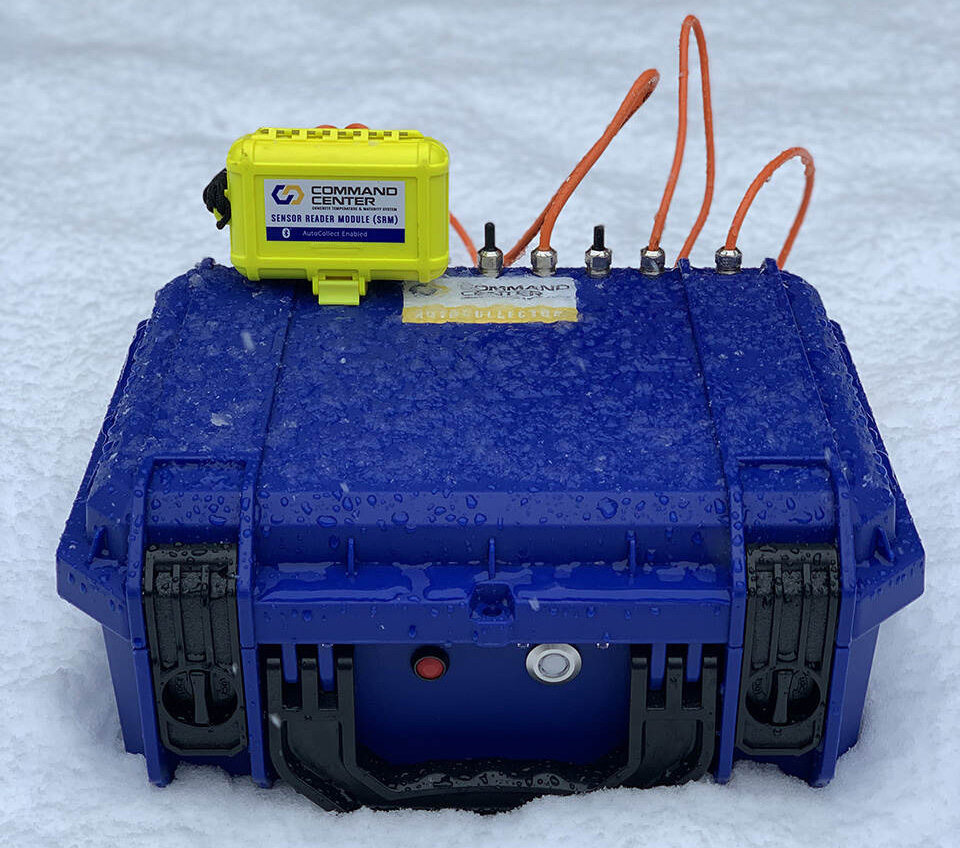 The AutoCollector box is rugged, weatherproof and needs only four D-cell batteries