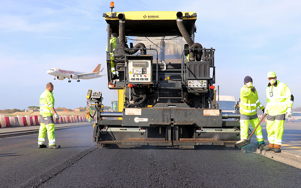 The taxiway stretch has been repaved with the new asphalt additive to test its long term performance