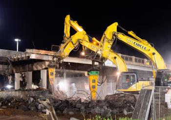 Hydraulic hammers from Indeco have proven their worth on a tough bridge demolition job in Australia