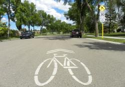 Sharrows should be in the middle of the road so motorists see them as well © David Arminas, Edmonton, Canada