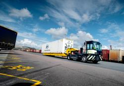 Volvo Penta's fully electric terminal tractor is doing real work at a harbor in Sweden