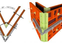Paschal's multi-waler hinge fits onto an acute-angled formwork structure