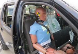 Ready to roll: a pick-up truck with the EuroNCAPs sophisticated injury-monitoring dummy onboard