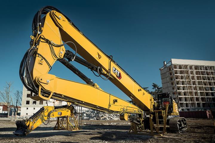 Caterpillar's long reach boom can be used for bridge demolition or car park demolition works